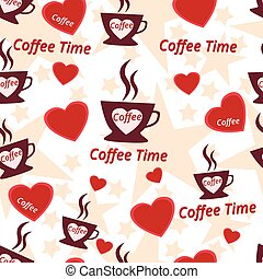 コーヒー 時間, seamless, パターン, カップ