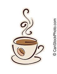 コーヒー, 暑い, 豆, カップ