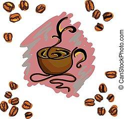 コーヒー, 有色人種, cup., イメージ, イラスト, ベクトル