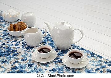 コーヒー, 木製である, ミルク, テーブル, 白, カップ, ビスケット, クリーム