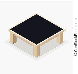 コーヒー, 木製である, -, 等大, イラスト, ベクトル, テーブル