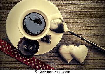 コーヒー, 木, おいしい, 背景, カップ