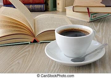 コーヒー, 本, カップ, テーブル