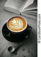 コーヒー, 本, 芸術, latte