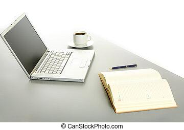 コーヒー, 机, ラップトップ, カップ