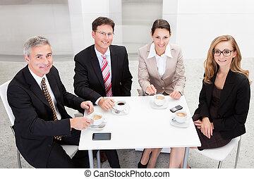 コーヒー, 楽しむ, ビジネスエグゼクティブ