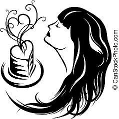 コーヒー, 楽しむ, 女の子, 香り
