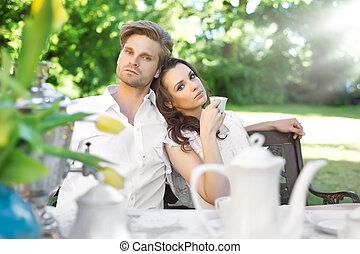 コーヒー, 楽しむ, 恋人, 庭, 若い
