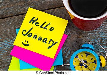 コーヒー, 概念, カップ, 1 月, 警報, 年, -, 付せん, 黒, 手書き, インク, 新しい, resolutions, 時計, こんにちは