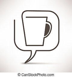 コーヒー, 概念, スピーチ, 泡, カップ