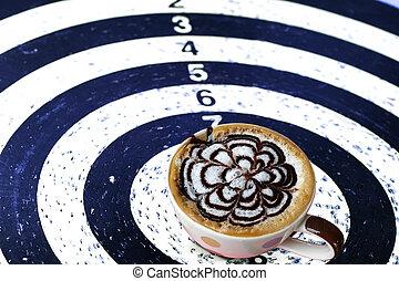 コーヒー, 概念, ターゲット, ビジネス, さっと動きなさい