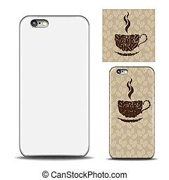 コーヒー, 概念, 後退しなさい, カップ, パターン, カバー, 隔離された, の上, 電話, 豆, smartphone., 背景, 例, 白, 側, mock, design.