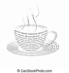 コーヒー, 構成されている, 言葉, カップ