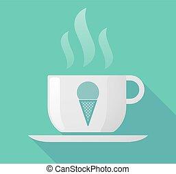 コーヒー, 氷, カップ, 長い間, コーン, 影, クリーム