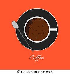 コーヒー, 泡, カップ