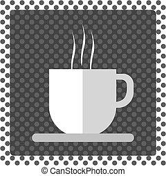 コーヒー, 泡, 暑い, 白いコップ