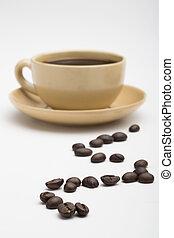 コーヒー, 白い背景, カップ