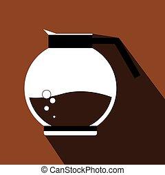 コーヒー, 白, ジャー, 暑い, bubb