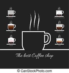 コーヒー, 白, 蒸気, w, カップ