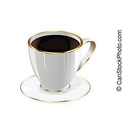 コーヒー, 白, 隔離された, 背景, カップ