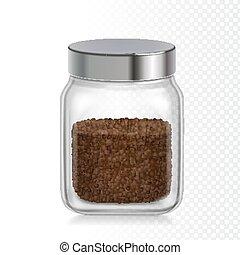 コーヒー, 瞬間, 微粒, パッケージ, ジャー, ガラス, 現実的, icon.