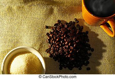 コーヒー, 砂糖, 豆, カップ