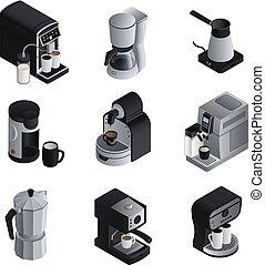 コーヒー, 等大, アイコン, セット, スタイル, メーカー