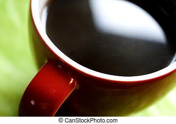 コーヒー, 緑の赤, 背景, カップ