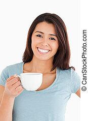 コーヒー, 美しい, 楽しむ, カップ, 女