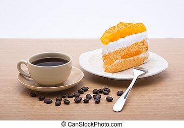 コーヒー, 背景, カップ, おいしい, ケーキ, 白