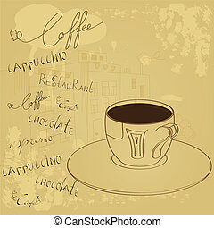コーヒー, 背景, カップ