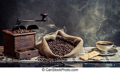 コーヒー, 背景, 型, 醸造, 煙, におい