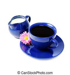 コーヒー, 花, 水差し, カップ, アスター, 生活, 隔離された, バラ色, 背景, 白, まだ, ミルク