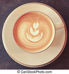 コーヒー, 芸術, カップ, 効果, latte, フィルター, レトロ
