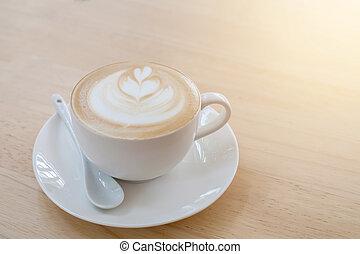 コーヒー, 芸術, カップ, 木製である, latte, 暑い, テーブル