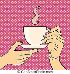 コーヒー, 芸術, illustration., カップ, ポンとはじけなさい, ベクトル, 手