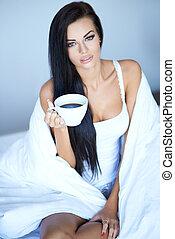 コーヒー, 若い, 持つこと, 女, カップ, 朝
