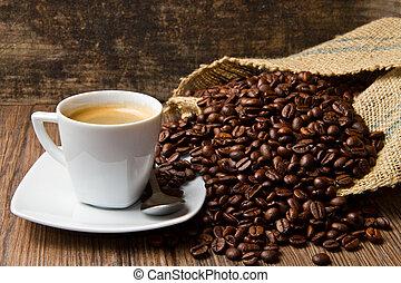 コーヒー, 袋, 豆, カップ, テーブル, 焼かれた, バーラップ, 無作法
