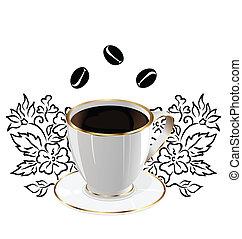 コーヒー, 要素, カップ, -, 隔離された, イラスト, ベクトル, デザイン, 花, 豆