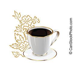 コーヒー, 要素, カップ, 隔離された, デザイン, 花
