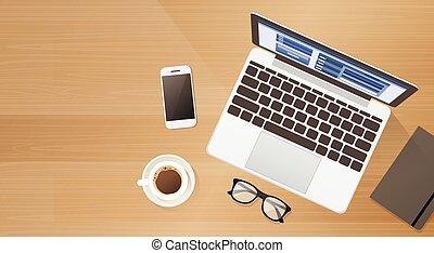 コーヒー, 角度, スペース, ラップトップ, 携帯電話, コンピュータ, 仕事場, 机, コピー, 上, 痛みなさい...