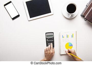 コーヒー, 計算機, カップ, 上, タブレット, ノート, 背景, 白, smartphone, 光景
