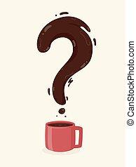 コーヒー, 質問, イラスト, 印