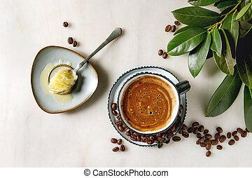 コーヒー, 防弾, バター