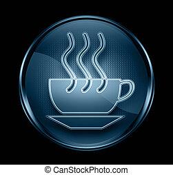 コーヒー, 青, カップ, 隔離された, 暗い, バックグラウンド。, 黒, アイコン