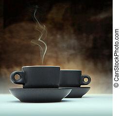 コーヒー, 黒, 2, カップ