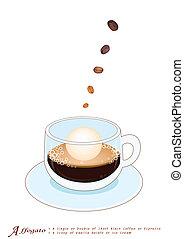 コーヒー, affogato, クリーム, 氷, カップ