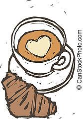 コーヒー, bread, カップ
