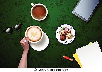 コーヒー, break., 暑い, カップ