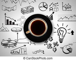 コーヒー, busi, 背景, カップ